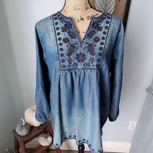 Tantrums Embellished/faded denim shirt